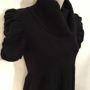 💚 Black Cowl Neck Rib Knit Sweater Dress